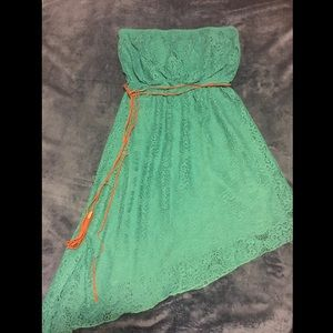 Strapless asymmetrical high low dress